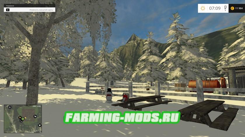 Зимняя карта Polski LAS 2015/16 для Farming Simulator 2015