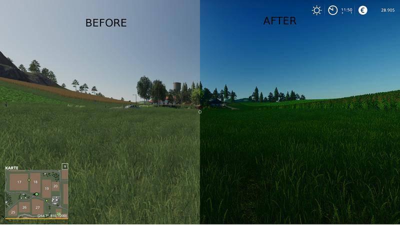 Мод Улучшенная графика v 2.0 для Farming Simulator 2019