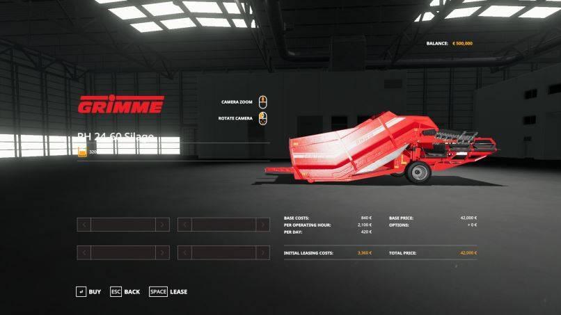 Мод Grimme RH2460 Edit Silage v 1.1 для Farming Simulator 2019
