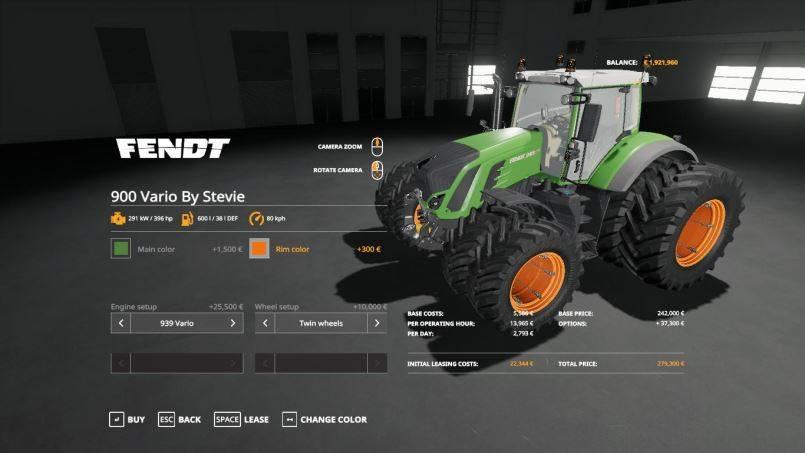 Мод Fendt 900 Vario by Stevie v 1.0.0.1 Fix для Farming Simulator 2019
