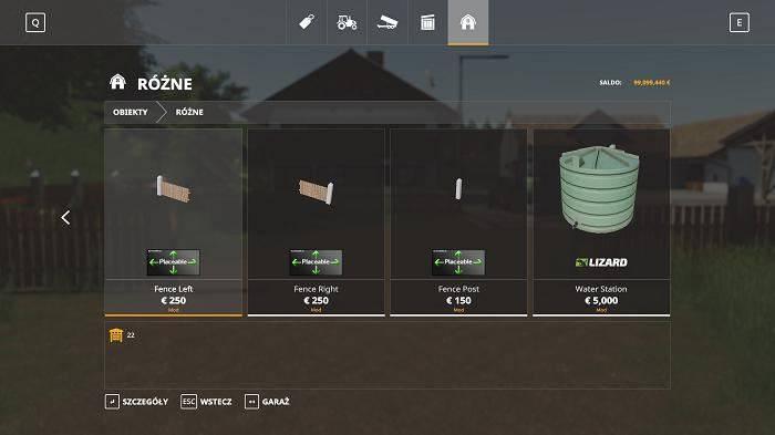 Мод Placeable Fence Set v 1.0 для Farming Simulator 2019