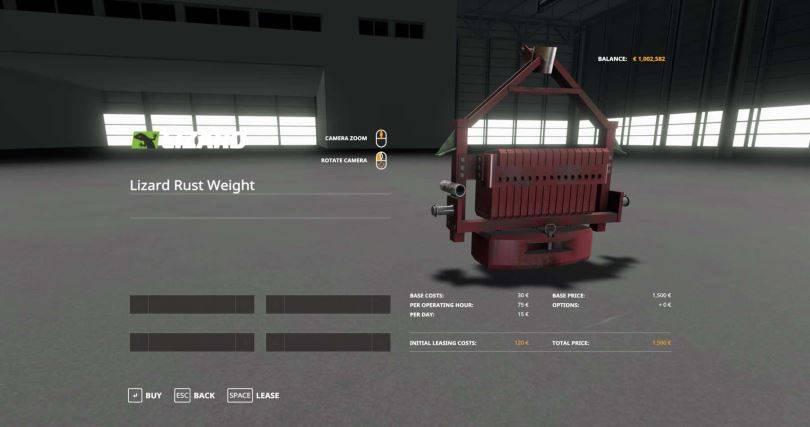 Мод Lizard Rusty Weight v 1.0 для Farming Simulator 2017