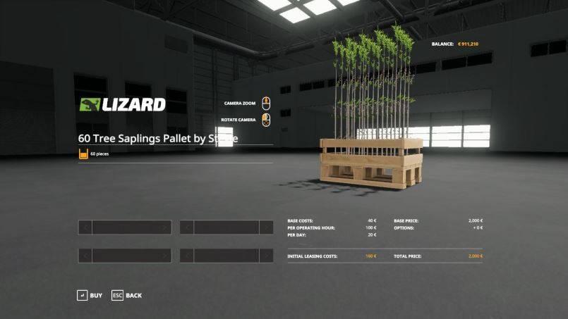 Мод Damcon PL-75 planter + 60 tree saplings pallets v 1.0 для Farming Simulator 2019