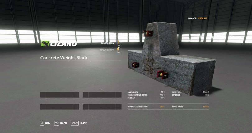 Мод Lizard Weight 1500KG v 1.0 для Farming Simulator 2019