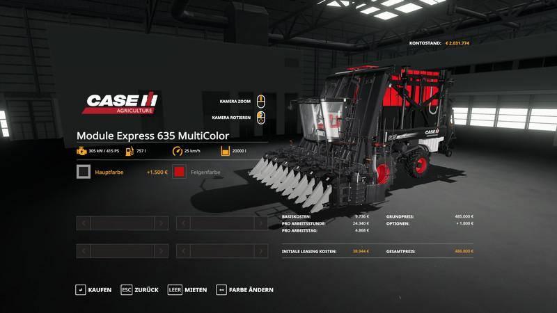 Мод Case IH Module Express 536 - MultiColor v 1.0 для Farming Simulator 2019