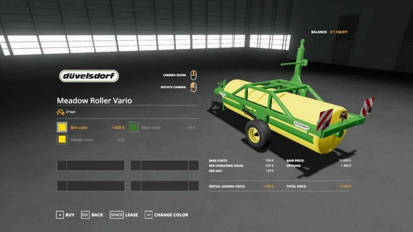 Мод Meadow Roller Vario small update by Stevie v 1.0 для Farming Simulator 2019