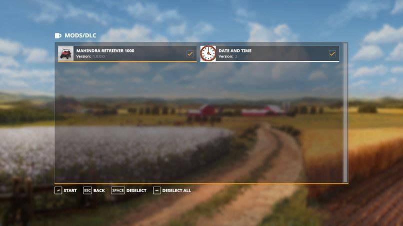 Мод Скрипт Date and Time Mod v 2.0 для Farming Simulator 2019