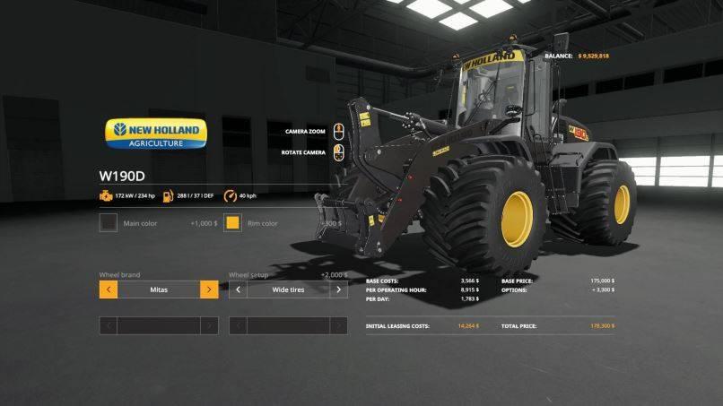 Мод New Holland W190D Wheel Loader v 1.0.0.4 для Farming Simulator 2019