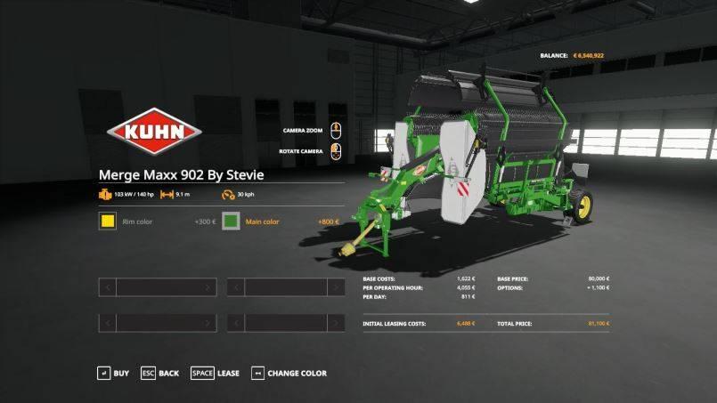 Мод Kuhn LSB1290D baler and Merge Maxx 902 by Stevie v 1.0 для Farming Simulator 2019