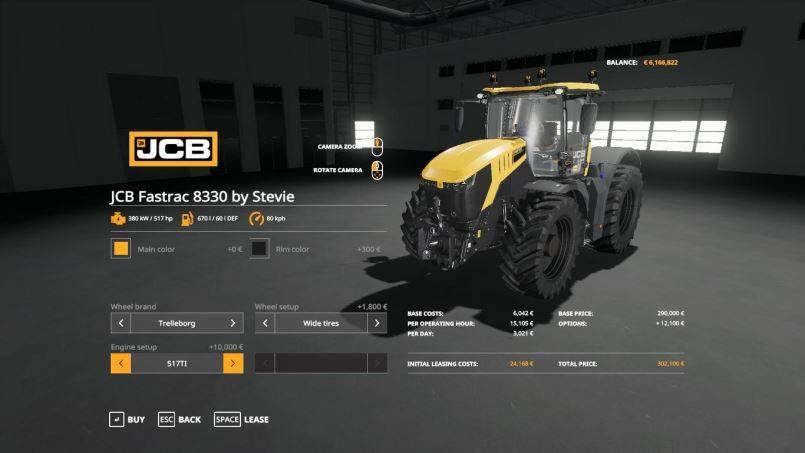Мод JCB Fastrac 8330 by Stevie v 1.0 для Farming Simulator 2019