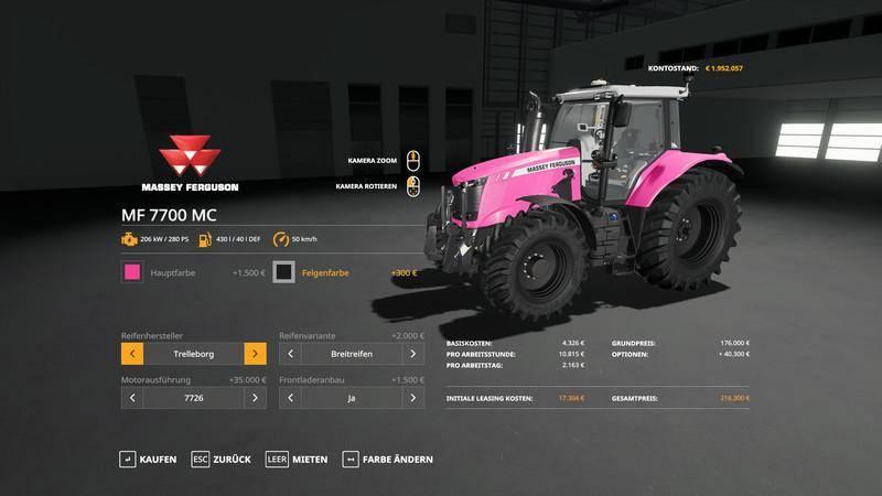 Мод Massey Furgusun 7700 - MultiColor v 1.0 для Farming Simulator 2019