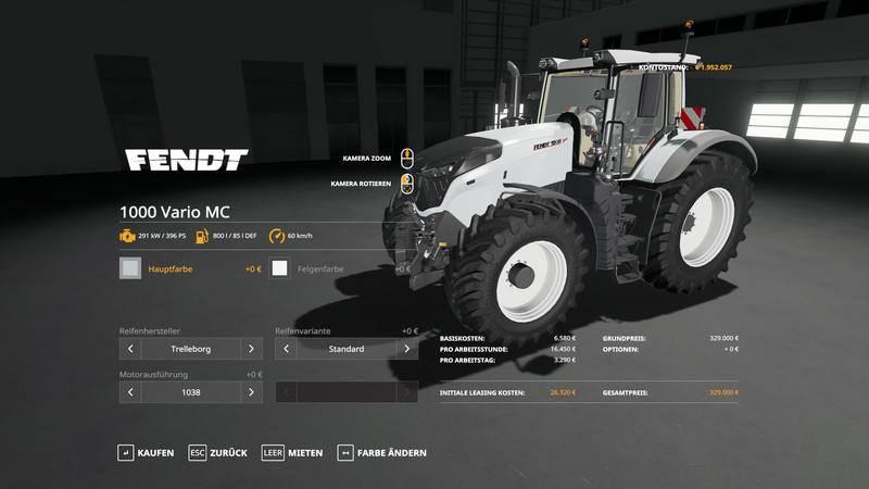 Мод Fendt Vario 1000 - MultiColor v 1.0 для Farming Simulator 2019