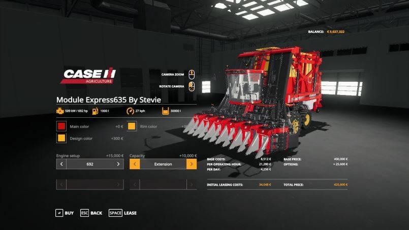 Мод CASE Module Express 635 By Stevie v 1.0 для Farming Simulator 2019