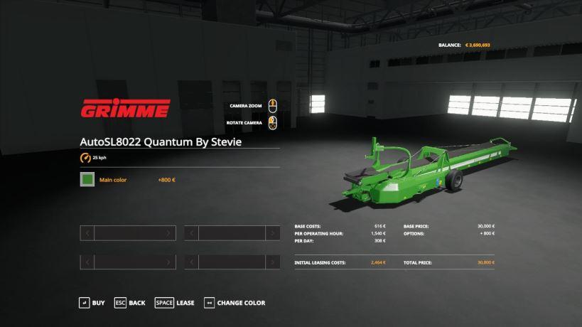 Мод Grimme SL8022 Quantum Autobelt By Stevie для Farming Simulator 2019