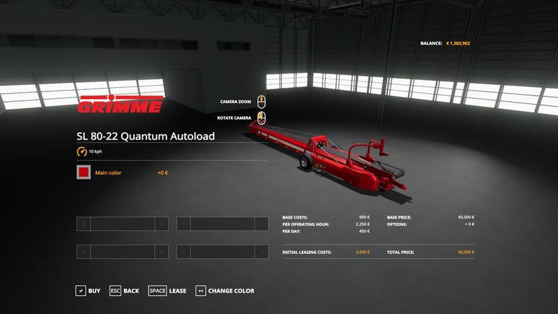 Мод Grimme SL 80-22 Quantum Autoload v 1.1 для Farming Simulator 2019