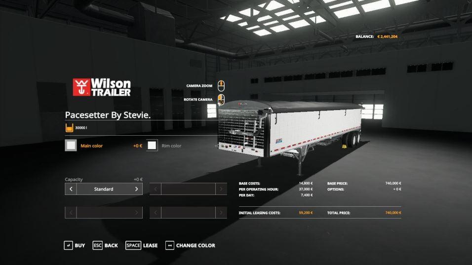 Мод Warrior Semi + Wilson Pacesetter Trailer v 1.0 для Farming Simulator 2019