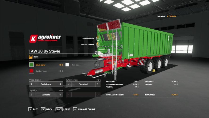 Мод JD 645FD-618C cutter + Kroeger Taw30 by Stevie для Farming Simulator 2019