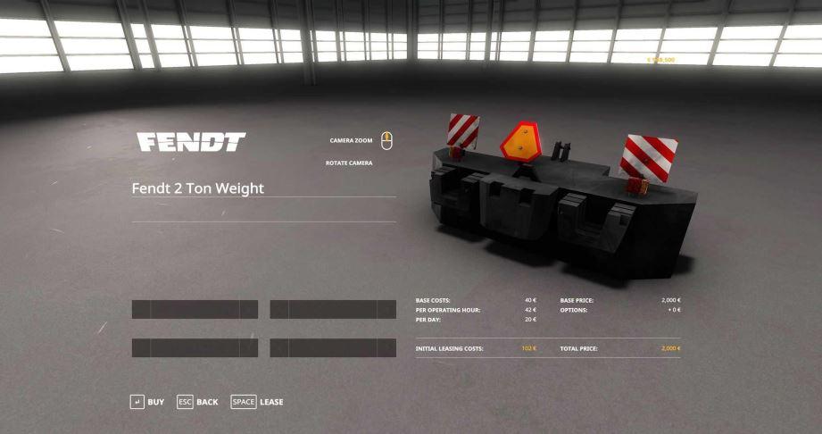 Мод Fendt 2 Tons Weight v 1.0 для Farming Simulator 2019
