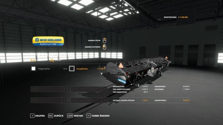 Мод NH CR1090 & SuperFlexDraper45ft - MultiColor 30.000l v 1.0 для Farming Simulator 2019