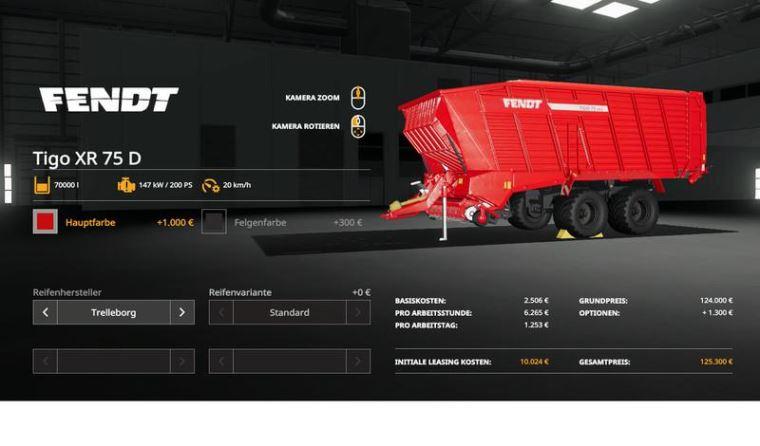 Мод Fendt TigoXR75 Multicolor Multifruit 70000l v 1.0 для Farming Simulator 2019