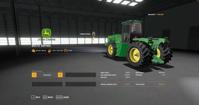Мод John Deere 8970 Series v 1.0 для Farming Simulator 2019