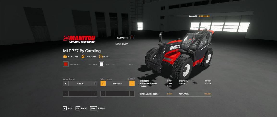 Мод Manitou MLT-737 v 1.0 для Farming Simulator 2019