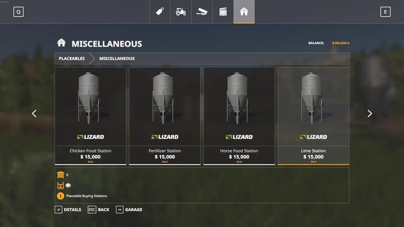 Мод Placeable Seed Fertilizer Food Stations v 1.0.7.0 для Farming Simulator 2019