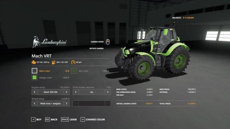 Мод Lamborghini VRT MaX v 1.2.1 для Farming Simulator 2019