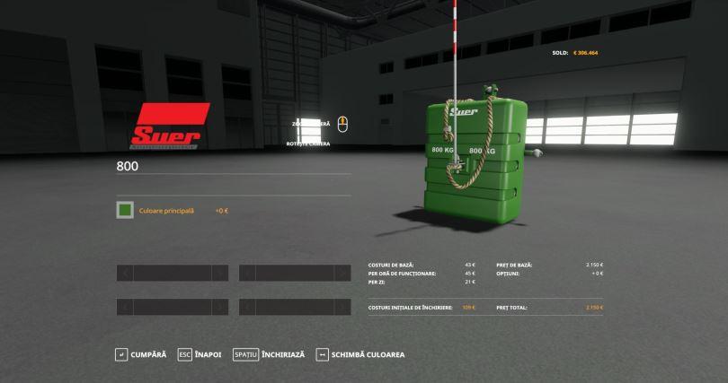 Мод Suer Weight 800 v 1.0 для Farming Simulator 2019