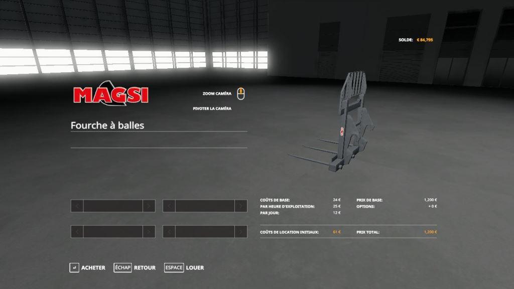 Мод Fourche a 3 Balle Carre Magsi v 1.0 для Farming Simulator 2019