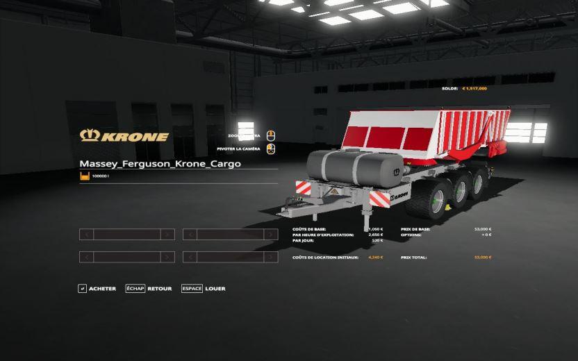 Мод Massey Ferguson Krone Cargo v 1.0.0.1 для Farming Simulator 2019