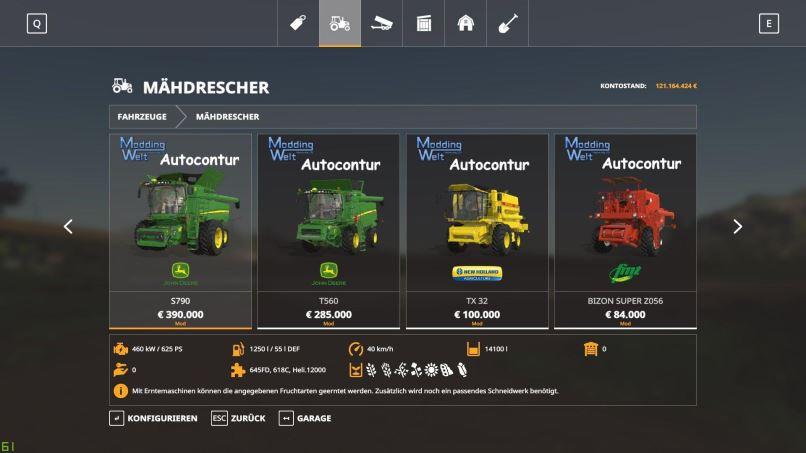 Мод Autocontur for standard harversters v 1.0.1.0 для Farming Simulator 2019