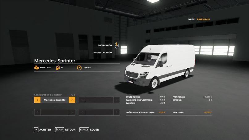 Мод Mercedes Benz Sprinter LWB v 1.1 для Farming Simulator 2019