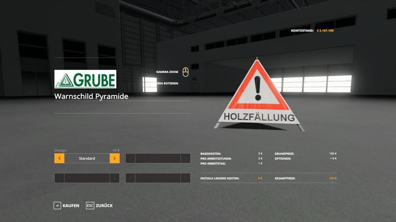 Мод Forest pyramid warning sign v 1.0 для Farming Simulator 2019