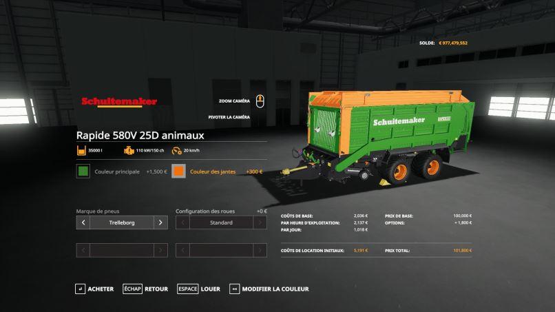 Мод Schuitemaker Rapide 580V 25D animaux v 1.0 для Farming Simulator 2019