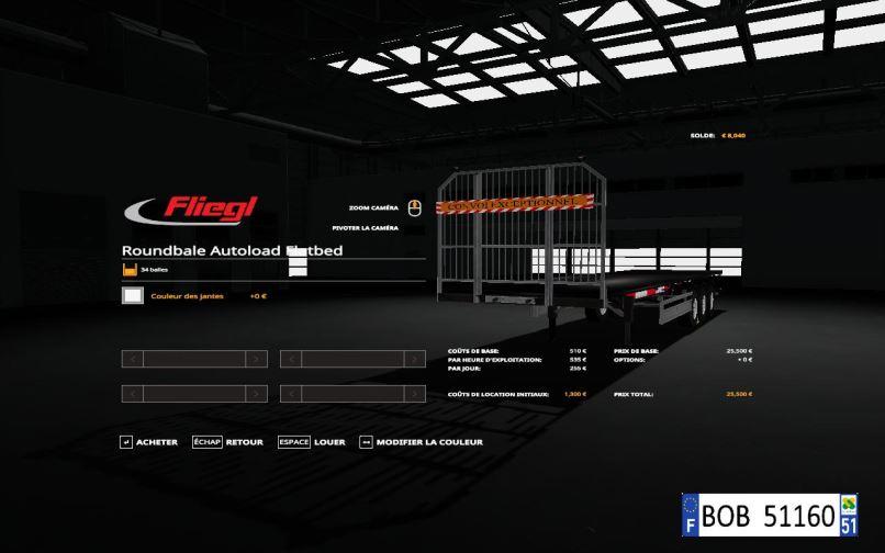 Мод Fliegl Flatbed Round Autoload v 1.0.0.4 для Farming Simulator 2019