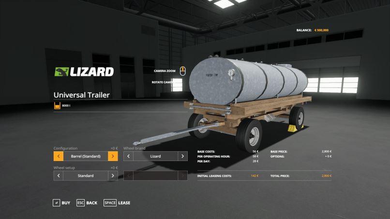 Мод Lizard Universal Trailer v 1.0 для Farming Simulator 2019