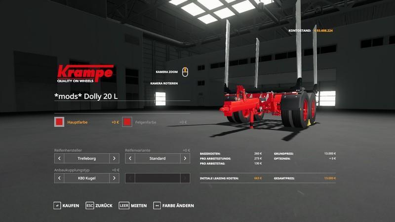 Мод Forst Dolly v 1.1 для Farming Simulator 2019