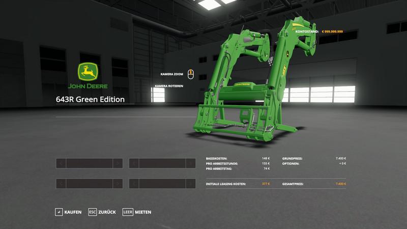 Мод John Deere 6R + 643R Green + Black Pack v 1.0.0.3 для Farming Simulator 2019
