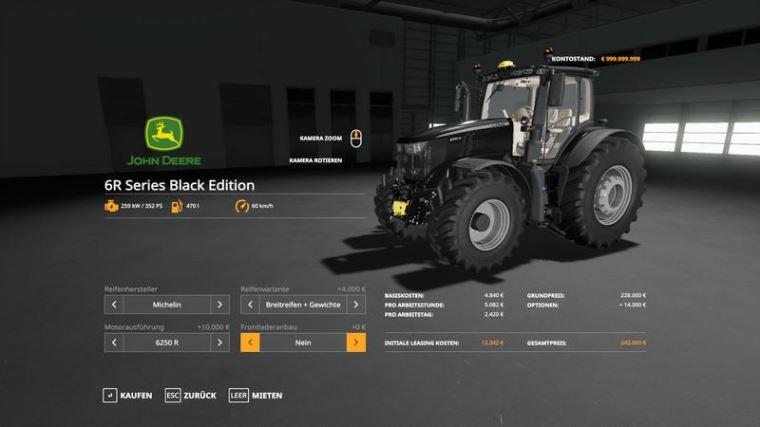 Мод John Deere 6R Black + Green Edition v 1.0.0.8-09 для Farming Simulator 2019
