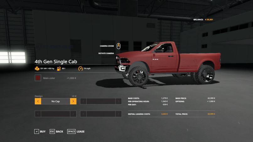 Мод Dodge Single Cab v 1.0 для Farming Simulator 2019