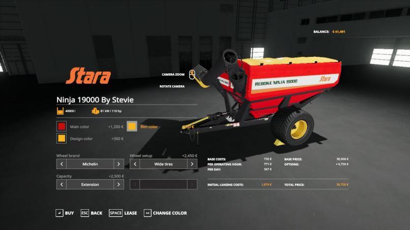 Мод Stara Ninja 19000 Auger Wagon v 1.0 для Farming Simulator 2019