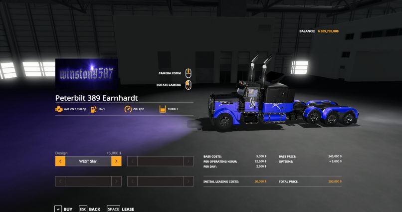 Мод Peterbilt 389 stock v 1.0 для Farming Simulator 2019