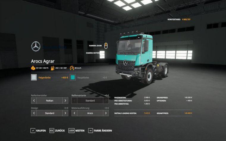 Мод Mercedes Arocs Agrar v 2.0 для Farming Simulator 2019