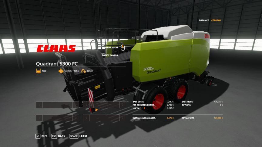 Мод Claas Quadrant 5300 FC v 1.1 для Farming Simulator 2019