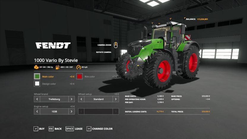 Мод Fendt 1000 Vario + BigX 1180 By Stevie для Farming Simulator 2019